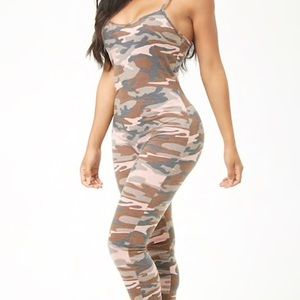 76a6338c4d70 Forever 21 Pants - Camo French terry jumpsuit